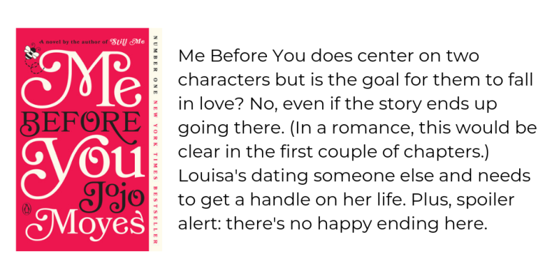 Me Before You does center on two characters but is the goal for them to fall in love_ No  even if the story ends up going there. (In a romance  this would be clear in the first couple of chapters.) Louisa's dating so